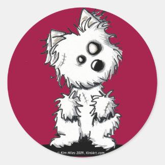 (Westie Zombie) Classic Round Sticker