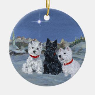 Westies and a Scottie Christmas Ceramic Ornament