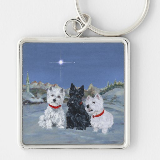 Westies and a Scottie Christmas Key Chains