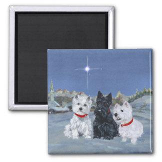 Westies and a Scottie Christmas Fridge Magnet