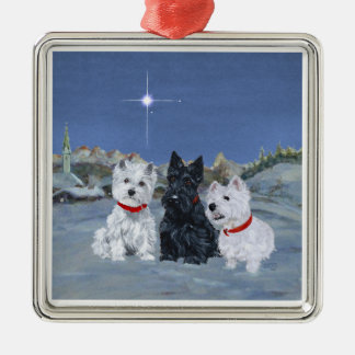 Westies and a Scottie Christmas Metal Ornament