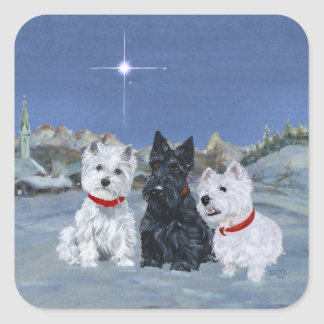 Westies and a Scottie Christmas Square Sticker
