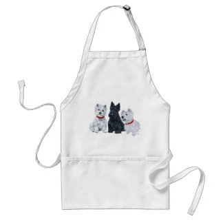 Westies and a Scottie Together Adult Apron