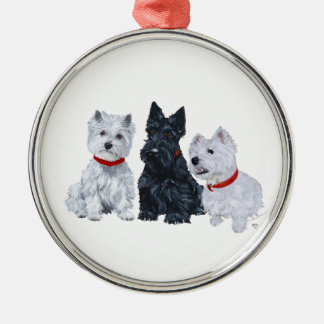 Westies and a Scottie Together Metal Ornament