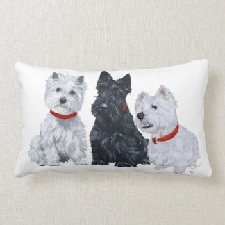 Westies and a Scottie Together Throw Pillow