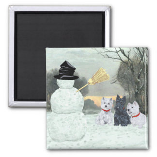 Westies and Scottie with Snowman 2 Inch Square Magnet