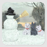 Westies and Scottie with Snowman Square Stickers