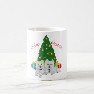 Westies by the Christmas Tree Coffee Mug