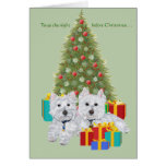 Westies by the Christmas Tree Greeting Card