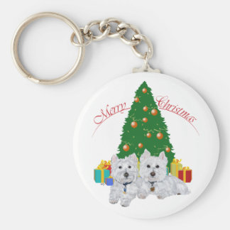 Westies by the Christmas Tree Keychain