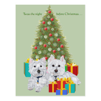 Westies by the Christmas Tree Postcard