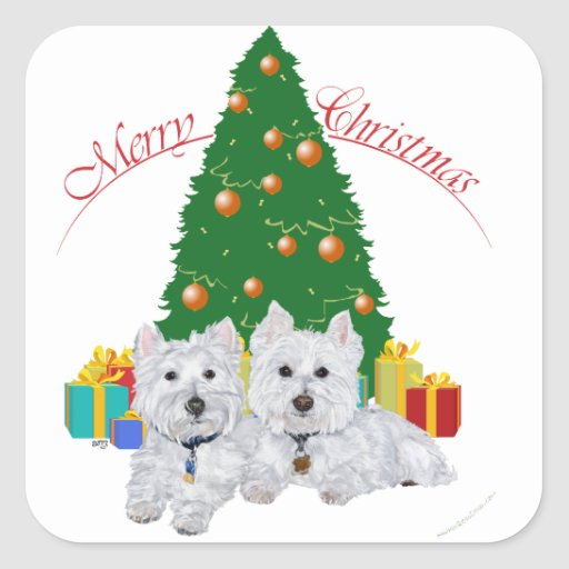 Westies by the Christmas Tree Square Stickers