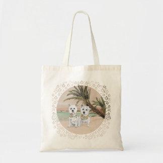 Westies en una playa con muchas palmas bolsa tela barata