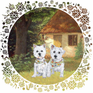 Westies in a Cozy Cottage Yard Acrylic Cut Outs