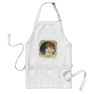 Westies in a Cozy Cottage Yard Aprons