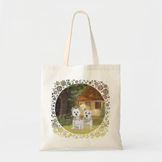 Westies in a Cozy Cottage Yard Canvas Bag