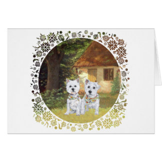 Westies in a Cozy Cottage Yard Card