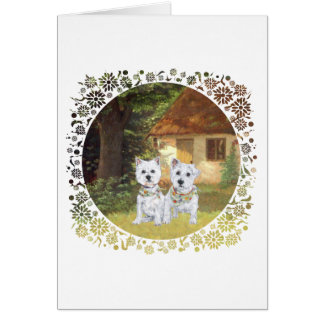 Westies in a Cozy Cottage Yard Cards