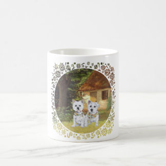 Westies in a Cozy Cottage Yard Mug