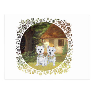 Westies in a Cozy Cottage Yard Post Card