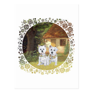 Westies in a Cozy Cottage Yard Postcards