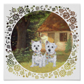 Westies in a Cozy Cottage Yard Poster