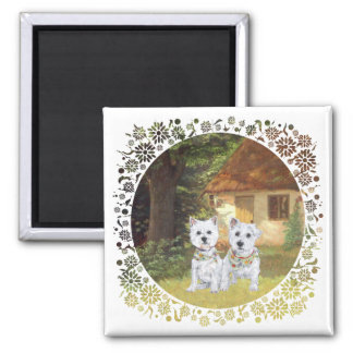 Westies in a Cozy Cottage Yard Refrigerator Magnet