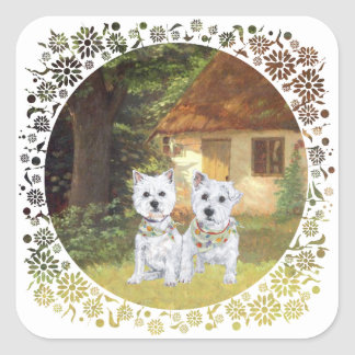Westies in a Cozy Cottage Yard Square Stickers