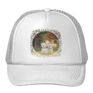 Westies in a Cozy Cottage Yard Trucker Hat