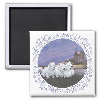 Westies in Scotland 2 Inch Square Magnet