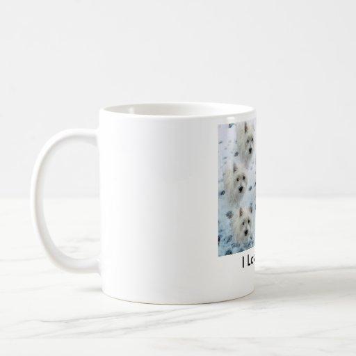 "Westies in Snow ""I Love Westies"" CUTE Classic White Coffee Mug"