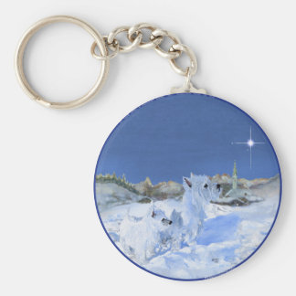 Westies in the Snow Key Chains