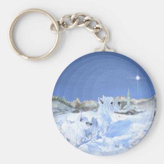 Westies in the Snow Keychains