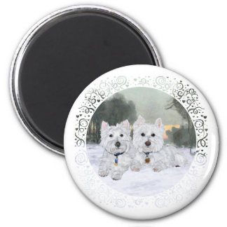 Westies in Wintertime 2 Inch Round Magnet