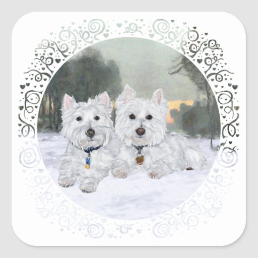 Westies in Wintertime Square Stickers