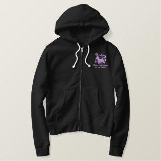 Westies Leave Paw Prints Purple Embroidered Hoodie