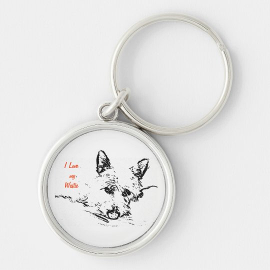 Westies Love,  black and white drawing Keychain