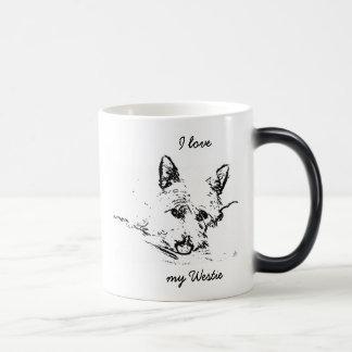 Westies Love,  black and white drawing Magic Mug