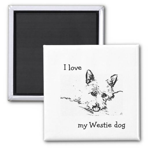 Westies Love,  black and white drawing Refrigerator Magnet
