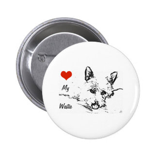 Westies Love,  black and white drawing Pinback Button