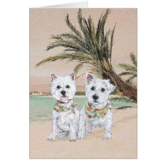 Westies on a Palmy Beach Card