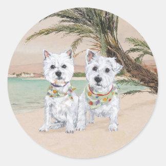 Westies on a Palmy Beach Classic Round Sticker