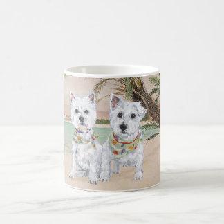 Westies on a Palmy Beach Coffee Mug