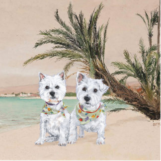 Westies on a Palmy Beach Cutout