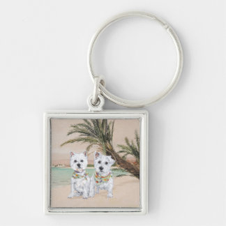 Westies on a Palmy Beach Key Chains