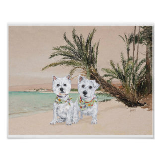Westies on a Palmy Beach Poster