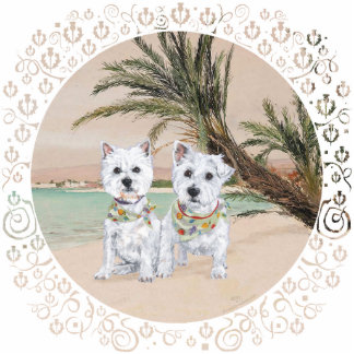 Westies on a Palmy Beach Statuette