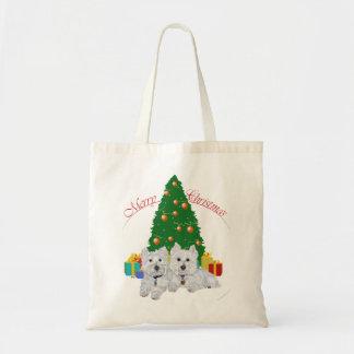 Westies por el árbol de navidad bolsa