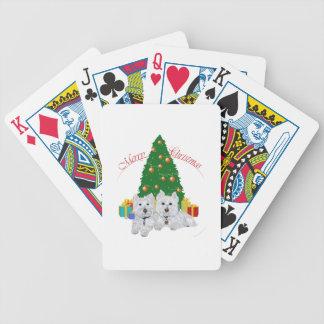 Westies por el árbol de navidad baraja cartas de poker