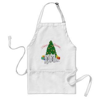 Westies por el árbol de navidad delantal